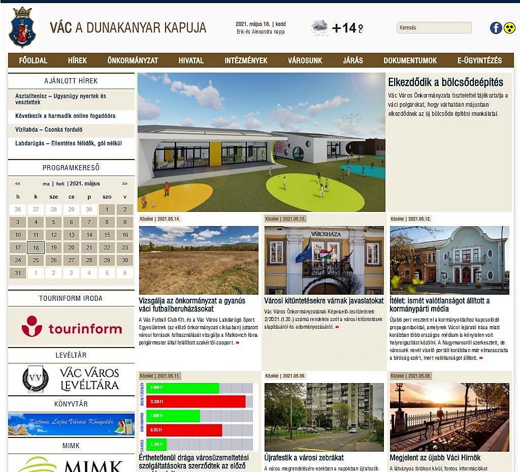 Megújult Vác hivatalos weboldala