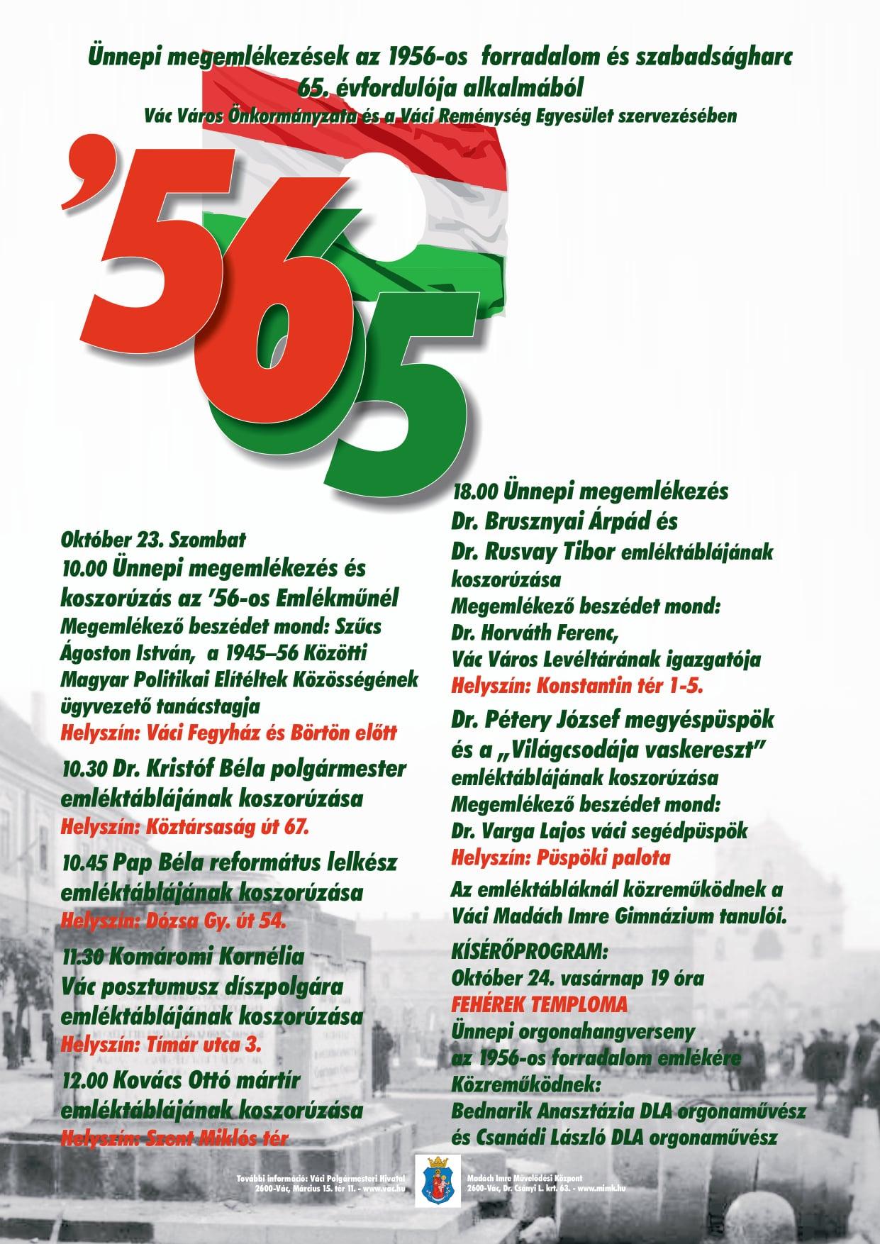 Az '56-os mártírok váci emlékezete